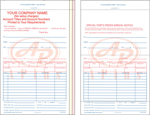 Special Parts Order Forms