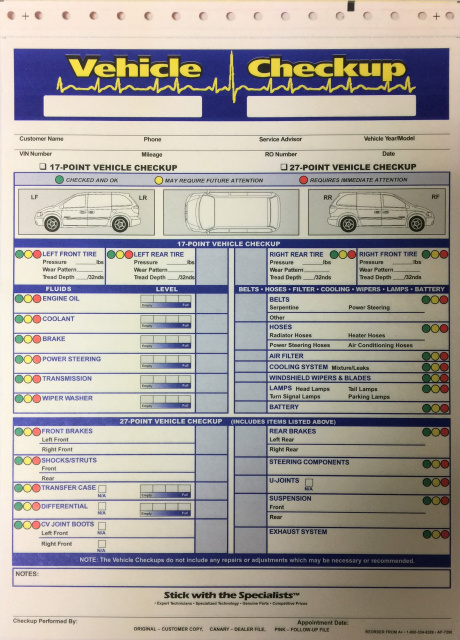 Multi Point Vehicle Inspection Forms Toyota Honda Ford Gm Chrysler