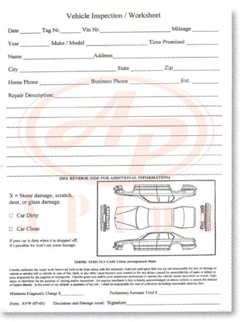 Multi point vehicle inspection forms toyota honda ford gm chrysler 7295 vehicle inspection worksheet 1 part view images altavistaventures Images