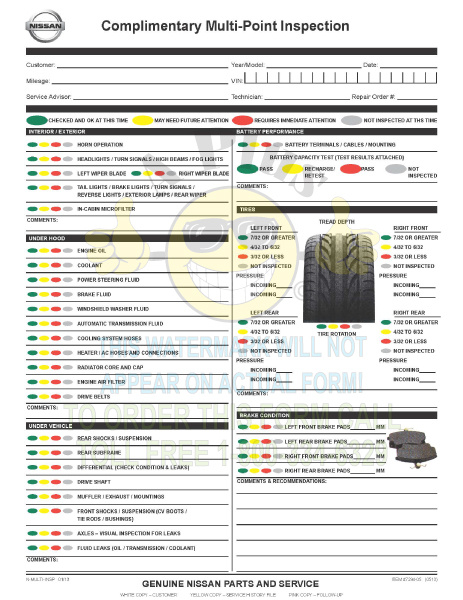 7294-0513 • Nissan Multi-Point Inspection Report Card, 3 Part, Quantity 1000