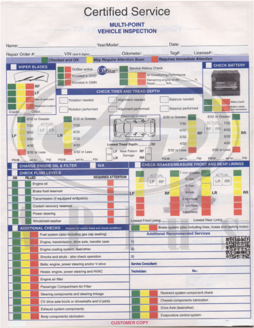 Multi Point Vehicle Inspection Forms Toyota Honda Ford Gm