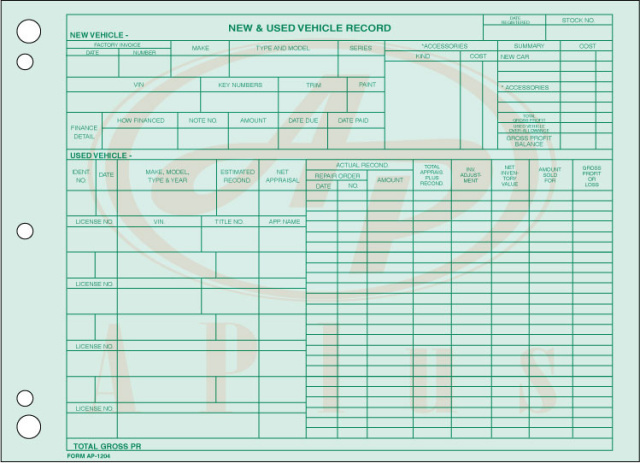 AP-1204 • Vehicle Inventory Records
