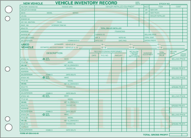 AP-DSA-542-85 • Vehicle Inventory Records