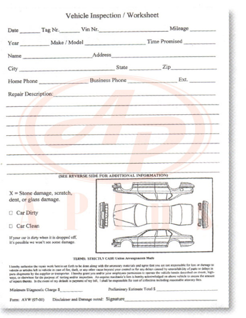 7295 • Vehicle Inspection Worksheet 1 Part